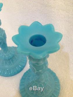 Blue Opaline Portieux Vallerysthal Chimeres pair 7¾ inch candlesticks VGC