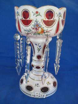 Bohemian/Czech Candle Luster White Cased Glass to Cranberry with Crystal Prisms