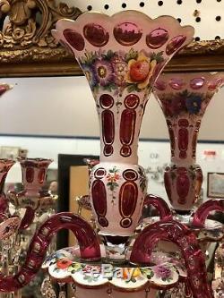 Bohemian Czech Glass Pair Lustres Candelabras STUNNING