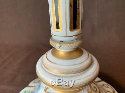 Bohemian German Czech Luster Girandole Candlestick Gold Painted Flowers Overlay