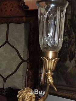 Brass Cherub Candle Holder with Glass Globe