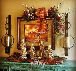 Brown Metal Wall Sconce Candle Holder Mercury Glass Rust Hurricane Chain Link