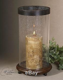 Bubble Glass Hurricane Candle Holder Bronze Wood Iron Pillar