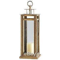 CANDLE HOLDER CANDLESTICK CYAN DESIGN TOWER MEDIUM ANCIENT GOLD GLASS IR