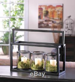 CANDLE HOLDERS 10 Ironside Black Metal & Glass Jar Display Candleholder Sets