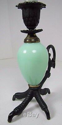 CHICKENS CLAW FOOT Chamberstick Figural Candlestick Cast Iron Green Glass