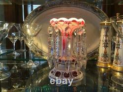 CZECH BOHEMIAN CRANBERRY GLASS LUSTER CANDLE HOLDER PRISMS Antique