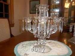 Cambridge 5 Light Candelabra with Bobeche and Prisms
