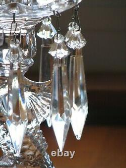 Cambridge Glass Crystal Clear 18 inch Dolphin Candlesticks with Hurricanes/Prisms