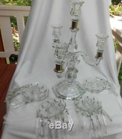 Candelabra Candlestick Holder Crystal 3 Arm Prisms 40 Bobeches 4 Antique Glass