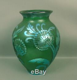 Carder/steuben Blue Aurene Acid Cut Back Green Poppy Vase (damage)