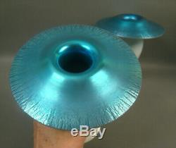 Carder/steuben Blue Calcite Mushroom Top Candle Holders