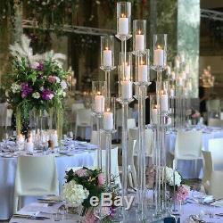 Crystal Glass Candle Holder 2 Sizes Wedding Table Centrepiece Aisle Decor