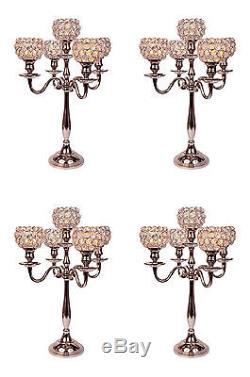 Crystal Globe Candelabras Wedding Centerpieces Votive Candle Holders 4 Pcs Set
