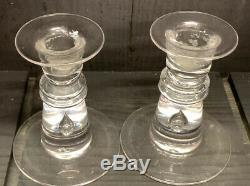 Crystal candlesticks pair Steuben 4.5