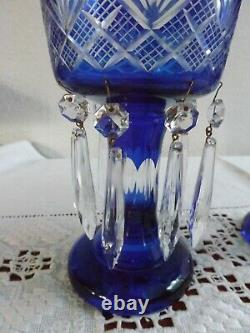 Czech Bohemian Art Glass Cobalt Cut To Clear Mantle Lusters Candle Holders
