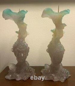 Daum Art Glass Bacchus Pate De Verre Pair of Candlesticks 8.5