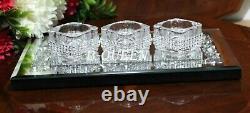 Diamante Crushed Diamond Mirrored Tray & Triple Candle Holder Wedding Tray Set