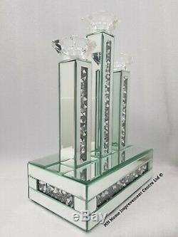 Diamond Crush Crystal Sparkly Silver Mirrored 3 Candle Holder 27.5x15.9xH39.8cm