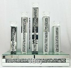 Diamond Crush Crystal Sparkly Silver Mirrored 5 Candle Holder 45x16xH46cm