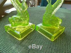 Dolphin Canary Candlesticks By Imperial Glass From Sandwich Glass Mold For Mma