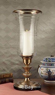 Elegant Antique Brass Plaid Cut Glass Hurricane Pillar Candle Holder 23H