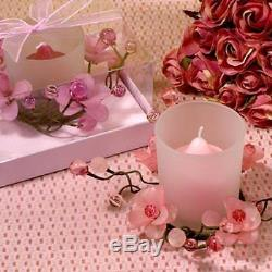 Elegant Frosted Pink Glass Flower Candle Holder, Pack Of 48