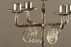 Erik Hoglund. Cast Iron and Glass Faces Candelabrum, Candle Holder. Sweden 60s