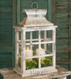 Famrhouse new Windowpane Large Candle Lantern in Distressed Wood