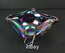 Fenton Amethyst Carnival Glass Gold Trim 3 Piece Fairy Lamp Signed D Cutshaw