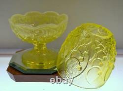 Fenton FAIRY LIGHT LG Yellow Topaz Vaseline LILY OF THE VALLEY 8404TO FREEusaSHP