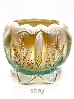 Fenton Glass Levay Aqua Opalescent Carnival Cactus Rose Bowl Candle Holders Set