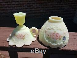 Fenton Hand Painted Burmese Candle Lamp Hand Painted C Smith