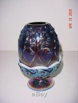 Fenton Iridized Plum Opalescent Art Glass Lily Of The Valley Fairy Lamp Light