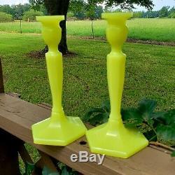 Fenton RARE #449 Chinese Yellow 8 1/2 Candlesticks