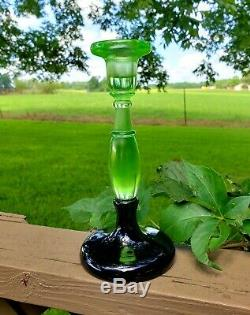 Fenton RARE #549 8 Florentine Green & Black Candlestick