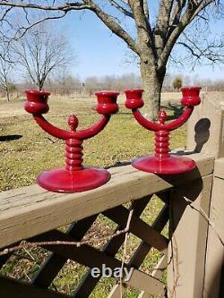 Fenton RARE Mandarin Red CANDELABRA candlesticks