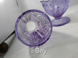 Fenton Wisteria New Heart Purple Glass Two Piece Fairy Lamp Candle Holder