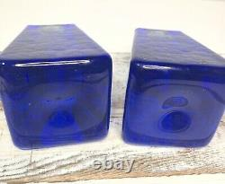 Fire And Light Recycled Glass COBALT Blue Tapered Candle Holder 3 Set Of 2