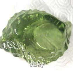 Fire And Light Recycled Glass NEW Olive Signed! Seashell votive candle Holder