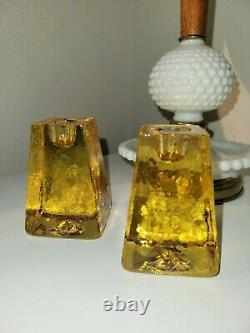 Fire And Light Recycled Glass Signed 3-1/4 Citrus Candle Holders set of 2