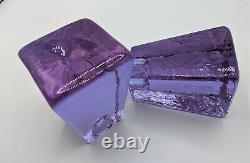 Fire & Light Art Glass Neodymium Candle Stick Holder Pair Lavender Blue Dichroic