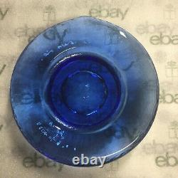 Fire and Light Candle Holder Cobalt Blue Recycled Collectible Glass 6 3/4 Wide