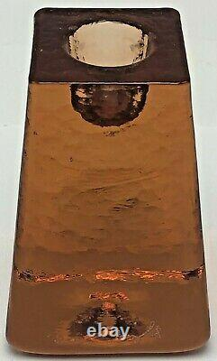 Fire and Light Recycled Art Glass Orange Copper Tapered Candle Holder Signed