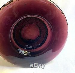 Fire and Light Recycled Glass Wide Rim Pedestal Plum Candle Wine Holder