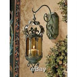 Fleur-De-Lis Ornate Smoked Glass Scrolled Metal Pendant Candle Holder Wall Decor