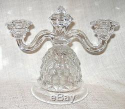Fostoria American Double Candlestick Holders with Bobeche and Prisms # 288