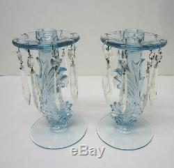 Fostoria Azure Blue Baroque Lustre Candle Holders with Prisms- Sakier Design