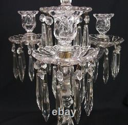 Fostoria Queen Anne 4 Light Candelabras Colony Candle Stick Holders Lustres