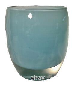 GLASSYBABY Baby Blue Votive Candle Holder Handblown Double Triskelion Logo Mint